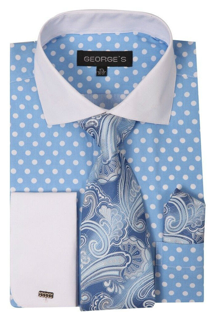 Men 39 S Polka Dot Design French Cuf Dress Shirt With Tie And