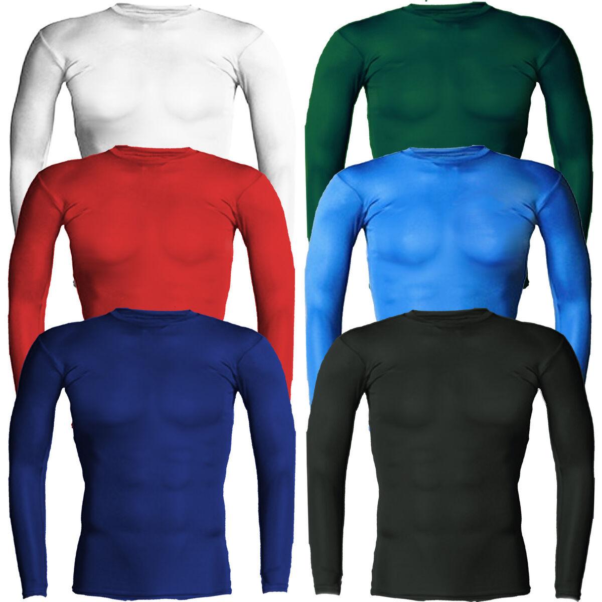 Mens Pro Rash Guard Long Sleeve MMA Compression Shirt Surf Shirt