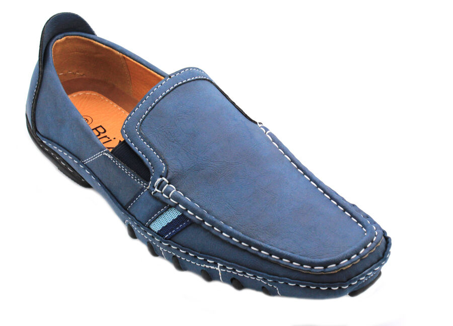 s rugged leather moccasins loafer slip on driving
