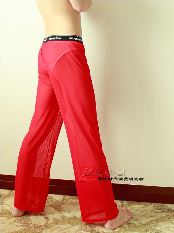 MEN'S Sexy Mesh Sheer Lounge Pants MV601 Black White M L ...