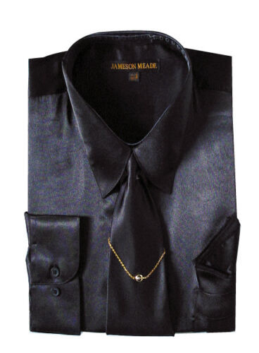 Men 39 s silky satin dress shirt with matching tie for Mens shirts with matching ties