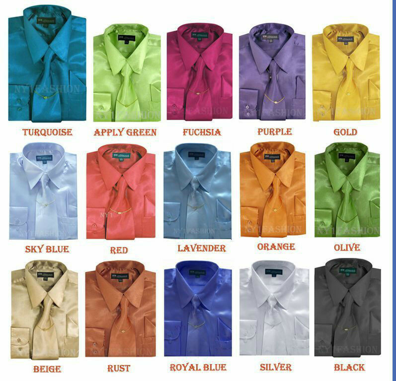 Men 39 s silky satin dress shirt with matching tie for Matching ties with shirts