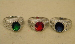 Men's Silver Rhodium Plated Dollar Sign Pinky Ring $ Ruby Emerald CZ Red Green in Jewelry & Watches, Men's Jewelry, Rings | eBay