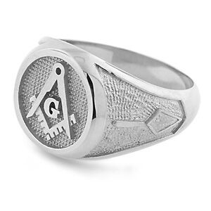 Solid Platinum Masonic Freemason Square and Compass Trowel Ring