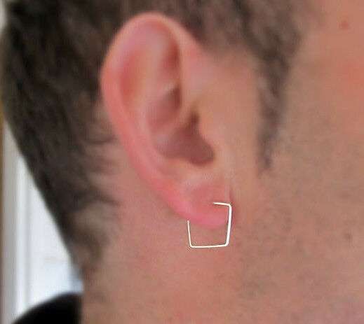 Men S Square Hoop Earring 12mm Sterling Silver Ear Cartilage