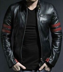 mens stylish retro motorcycle fashion cowhide leather jacket ebay. Black Bedroom Furniture Sets. Home Design Ideas