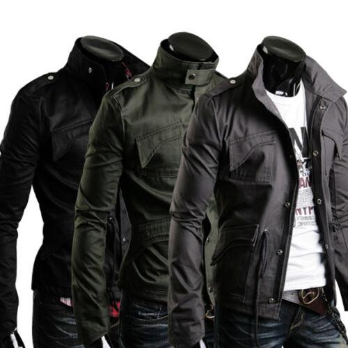 Men's Stylish Stand Collar Slim Fit Jacket Coats Military Style M L XL XXL