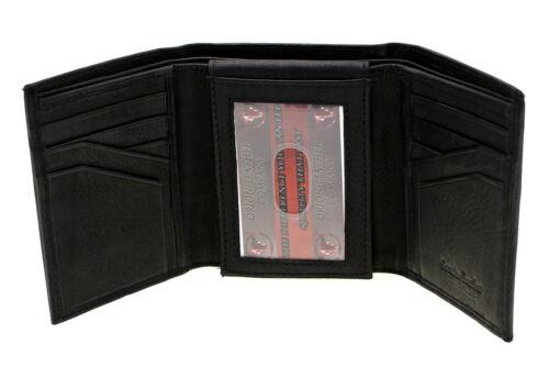 Men's Trifold Wallet Flap Up ID Genuine Leather Top Grain Black in Clothing, Shoes & Accessories, Men's Accessories, Wallets | eBay