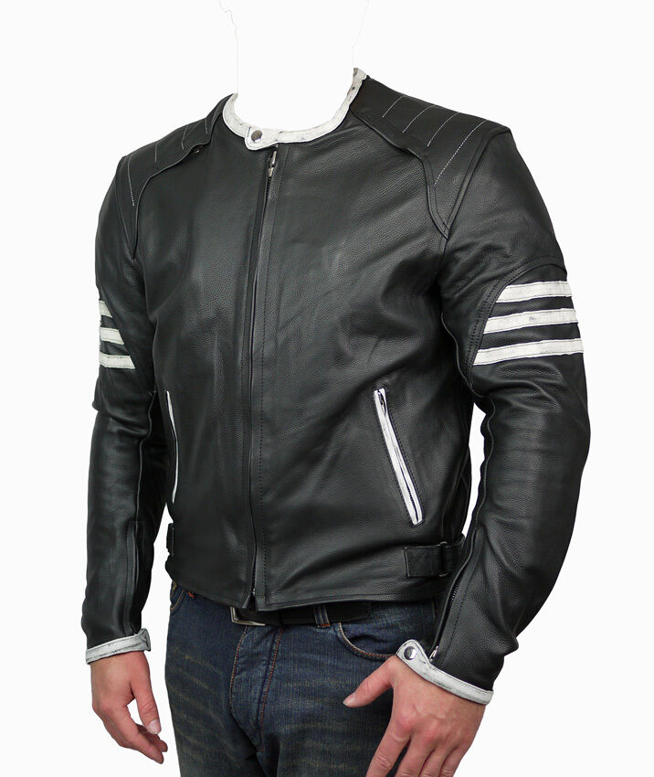 Mens Triumph Xmen Retro Motorcycle Black Leather Jacket