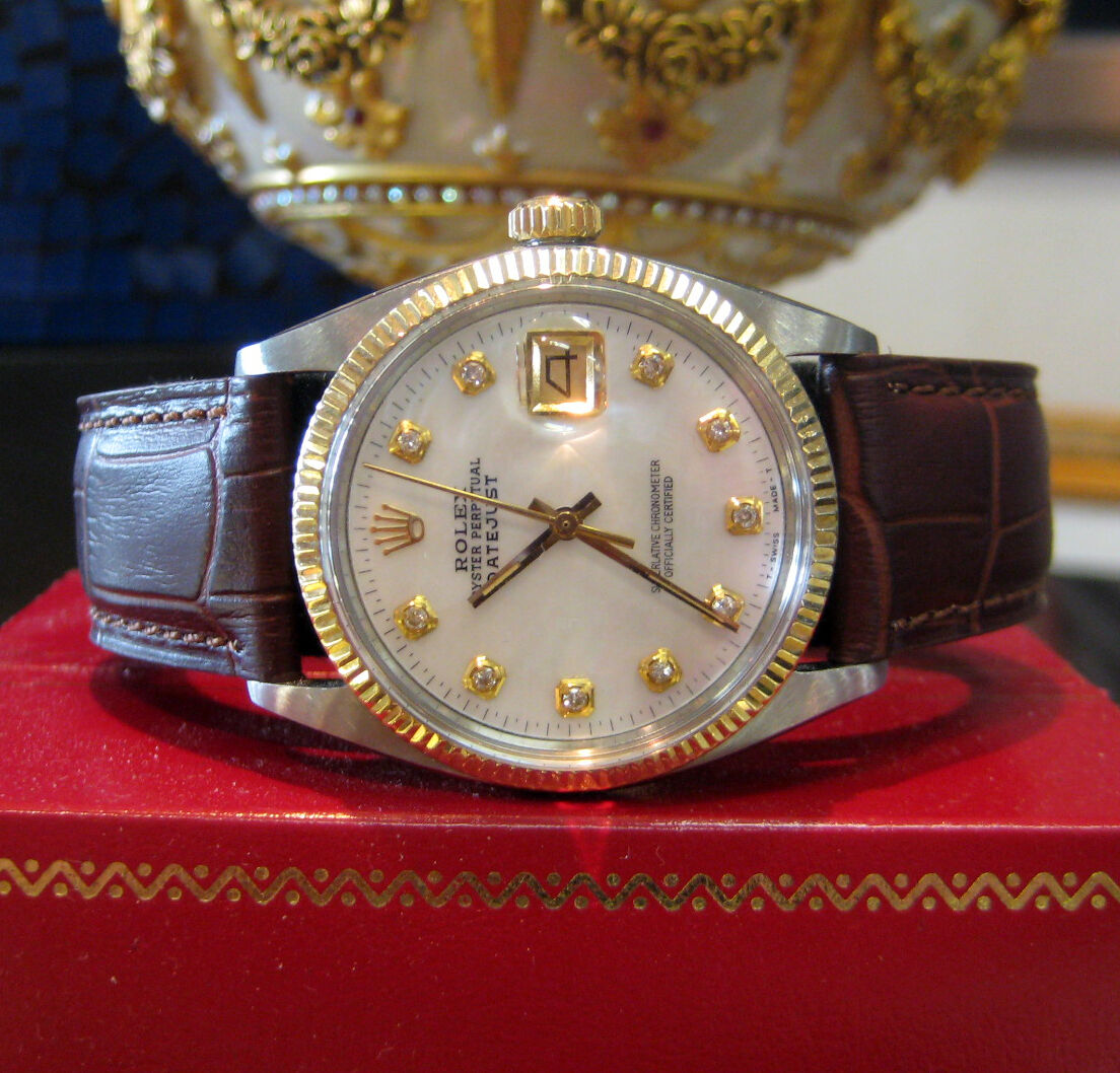 mens vintage rolex oyster perpetual datejust diamond dial