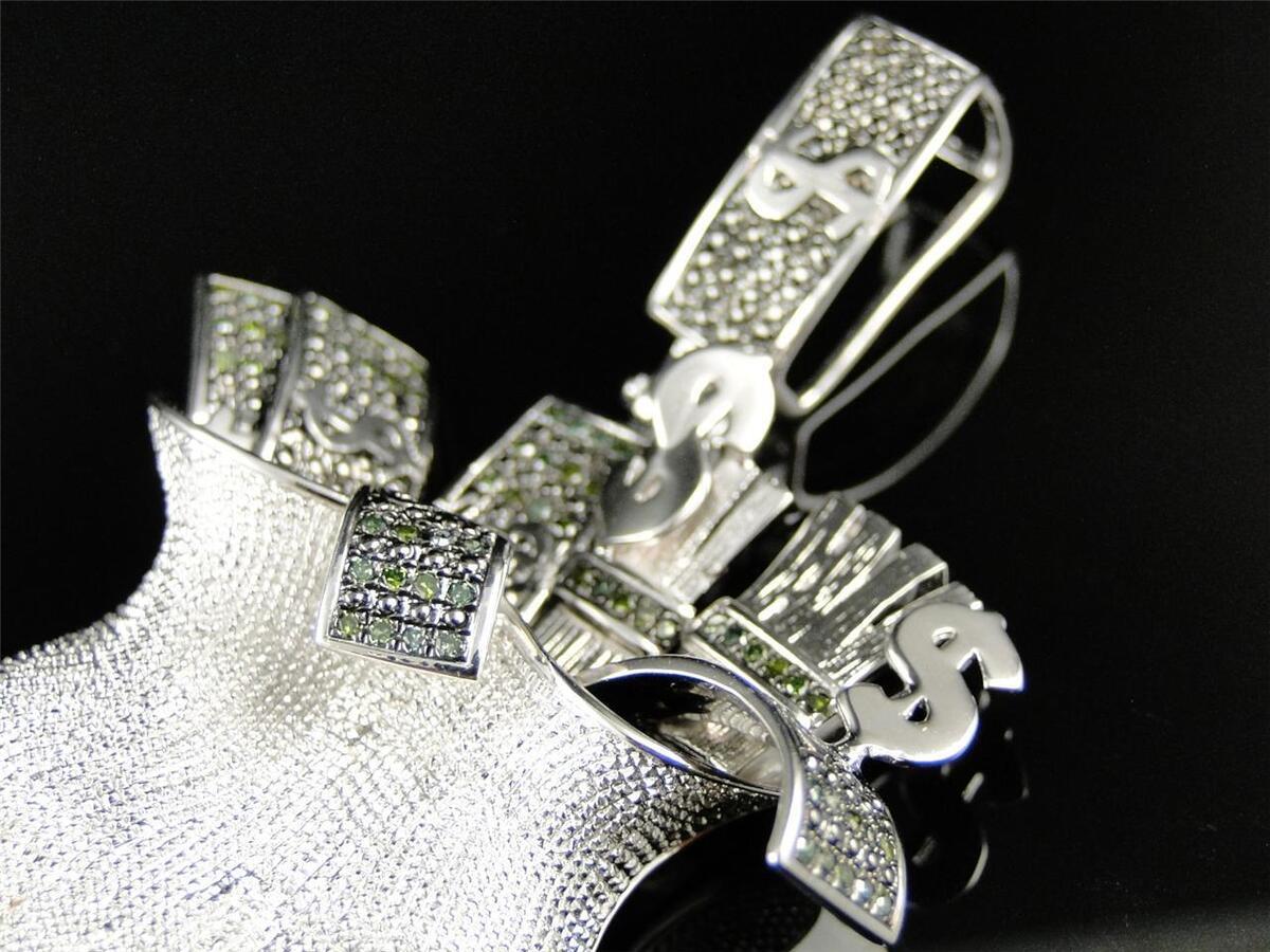 Mens White Gold Finish Green Diamond Money Bag Pendant Charm