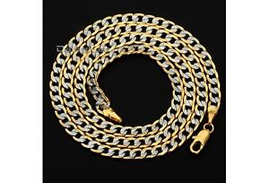 Mens Womens Chain Hammered Curb Cuban Gold Filled Necklace - <span itemprop='availableAtOrFrom'>Walldorf, Baden-Württemberg, Deutschland</span> - Mens Womens Chain Hammered Curb Cuban Gold Filled Necklace - Walldorf, Baden-Württemberg, Deutschland