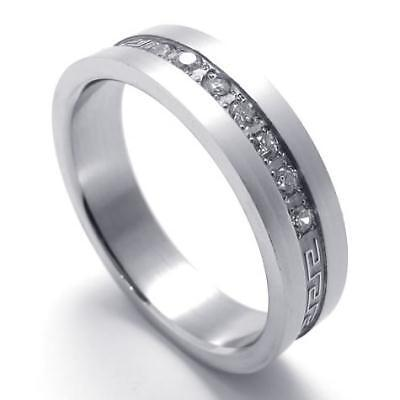 Mens Womens Silver Tone Stainless Steel Ring Size 13 U119942