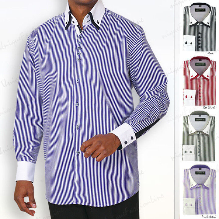 Men 39 s dress shirt double layered collar square button for Mens dress shirts with different colored cuffs and collars