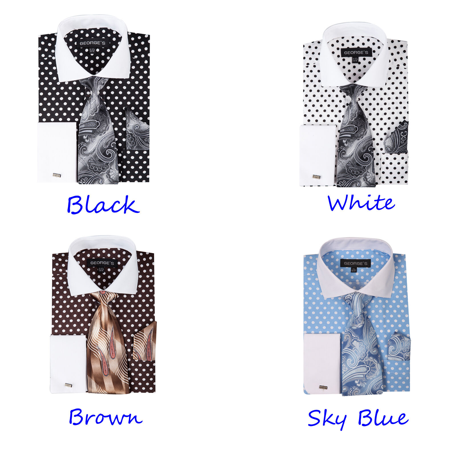 Men 39 S Dress Shirt With Tie And Hanky Polka Dot Design By