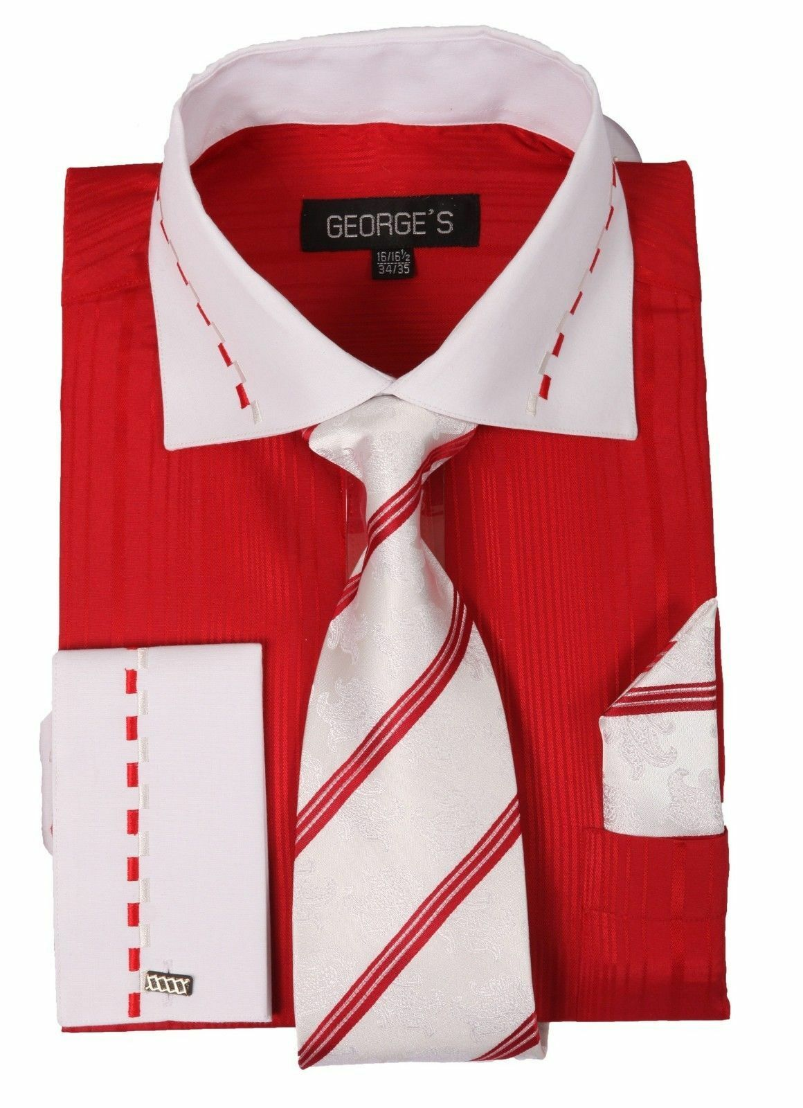 Men 39 s fashion dress shirt with tie hanky 2 tone red for Mens white french cuff shirt