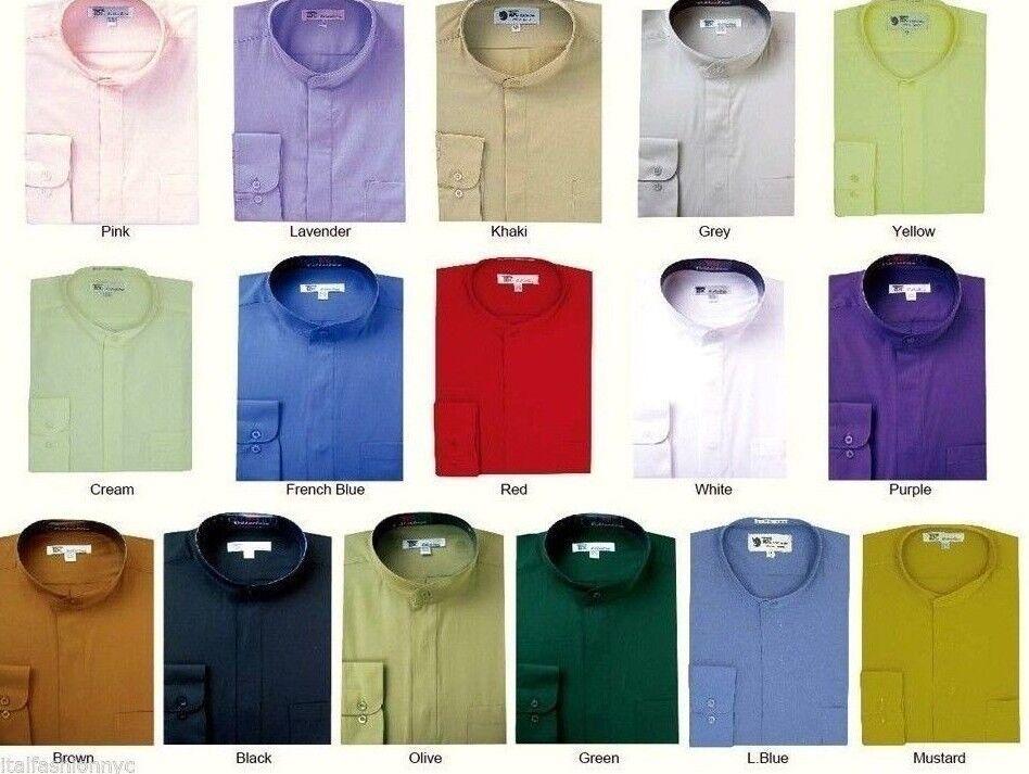 Mens Dress Shirt Mandarin Collar Banded Collar Dress