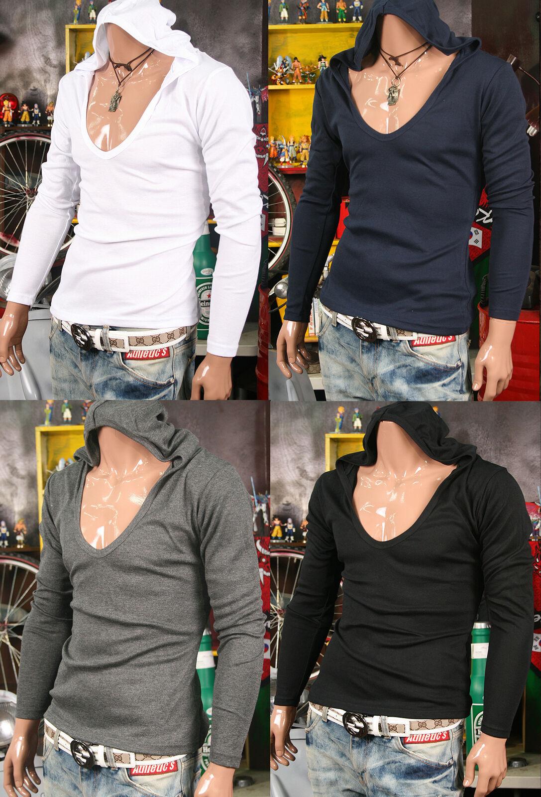 Mens slim fitting deep v neck t shirt with hoodie Unisex jersey jumper hoodies