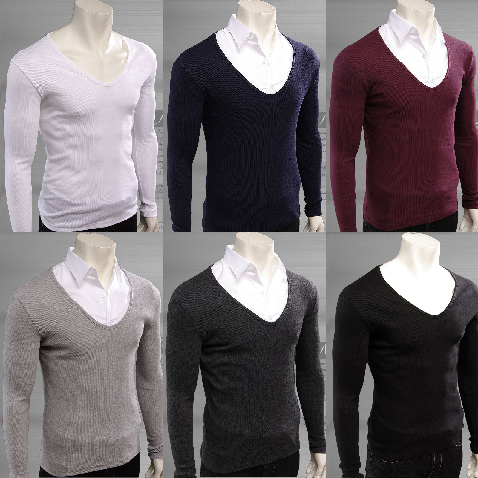 Men's v neck sweaters stretch t-shirts cotton long sleeve jumper casual top tee