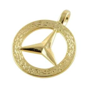 Mercedes benz symbol pendant 14k gold hge ebay for Mercedes benz charm