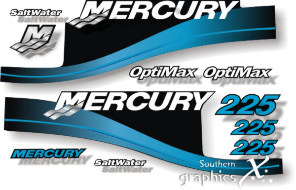 Mercury outboard optimax 225hp blue decals graphics for Outboard motor fuel consumption calculator