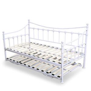 metal day guest with trundle bed frame sleeper vintage white versailles single ebay. Black Bedroom Furniture Sets. Home Design Ideas