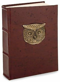 "Metal Owl Head Brown Italian Leather Thick Lined Journal (6""x9"") by Giving Europ in Books, Accessories, Blank Diaries & Journals 