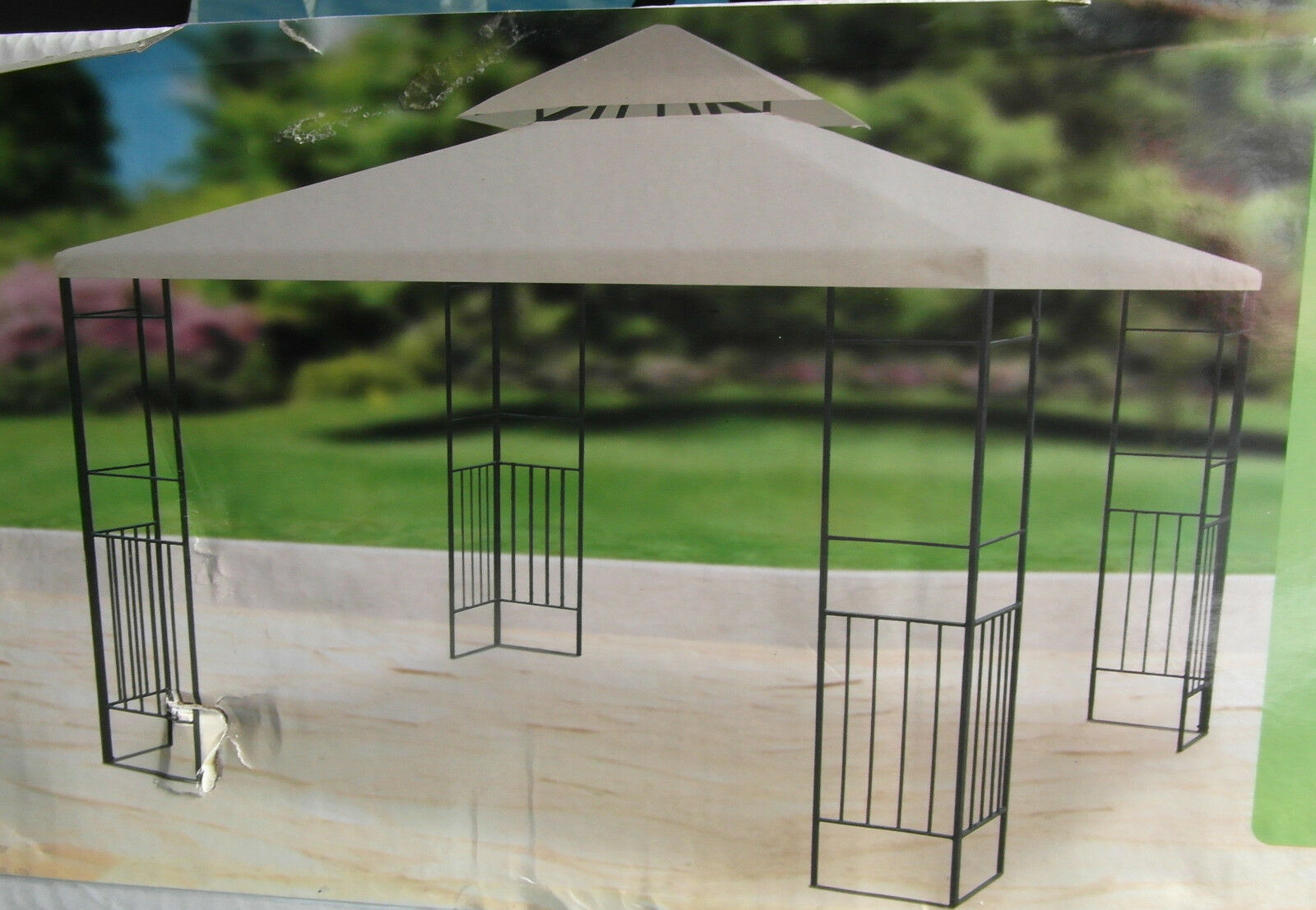 metall garten pavillon mit haubenl ftung metall pavillon neu ovp ebay. Black Bedroom Furniture Sets. Home Design Ideas