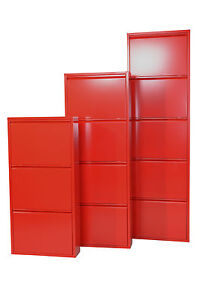 metall schuhschrank 3 5 klappen schuhkipper schuhregal schuhklappenschrank rot ebay. Black Bedroom Furniture Sets. Home Design Ideas