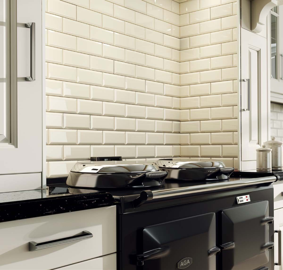 Cream Gloss Kitchen Wall Tiles: Metro 20x10cm Cream Gloss Beveled Edge Tiles (1 Box/SQM 50