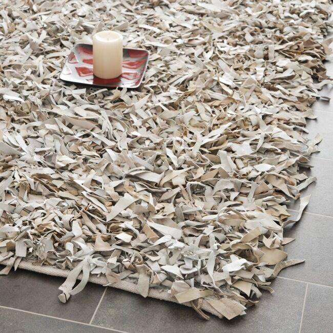 Grey and white shag rug