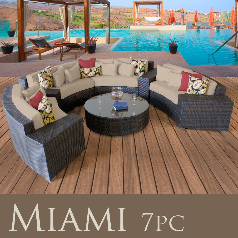 Miami New Modern Outdoor Wicker Patio 7 Piece Furniture