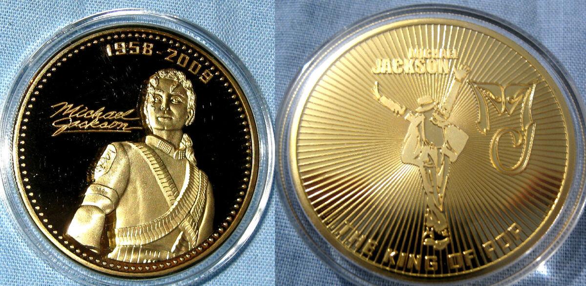 Michael Jackson Coin Gold Music Autograph Signature George Elvis