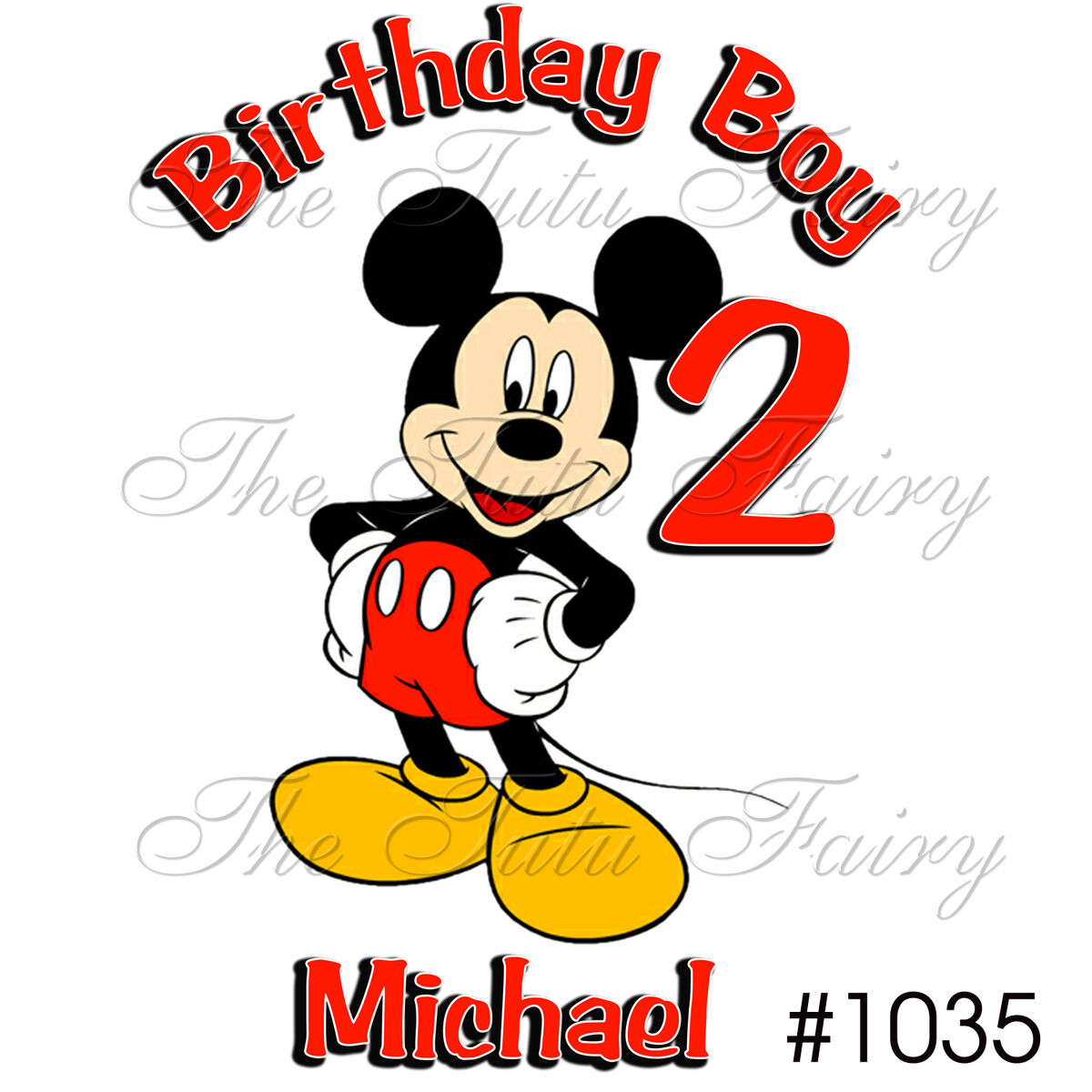 Mickey Mouse Birthday Boy Shirt Name Age Personalized Baby Toddler 1st 2nd 3rd 4