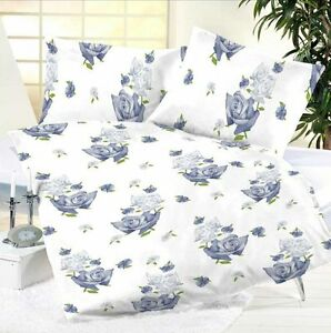microfaser bettw sche blau hellblau wei rosen blumen in 135x200 200x200 cm neu ebay. Black Bedroom Furniture Sets. Home Design Ideas