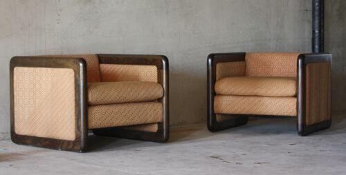 Mid Century Modern Milo Baughman Style Club Cube Lounge Chairs Pair Vintage! in Antiques, Periods & Styles, Mid-Century Modernism | eBay