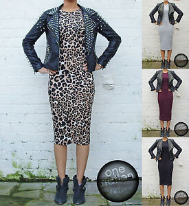 Plain Black Dress on Midi Bodycon Dress Short Sleeve Maxi Ladies Womens Black Grey Berry S