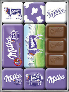 milka kuh schokolade nostalgie k hlschrank magnet set 9 tlg tin sign mag28 ebay. Black Bedroom Furniture Sets. Home Design Ideas