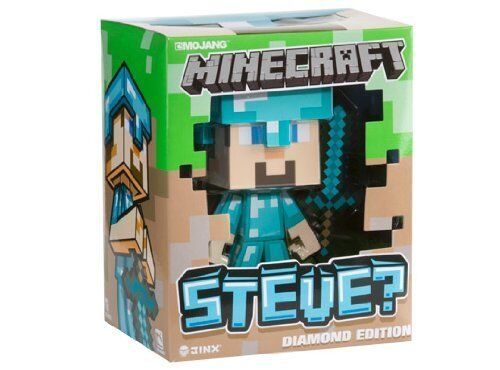 "Minecraft 6"" Vinyl Diamond Steve Figure With Removable Diamond Sword + Helmet in Toys & Hobbies, Action Figures, TV, Movie & Video Games 