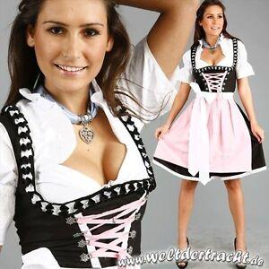 Mini-Dirndl-Set-3-tlg-schwarz-weiss-rosa-Gr-32-34-36-38-40-42-44-46-48-50-52-54