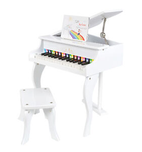 mini kinder klavier kids piano deckel aufklappbar mit stuhl hocker in wei neu ebay. Black Bedroom Furniture Sets. Home Design Ideas