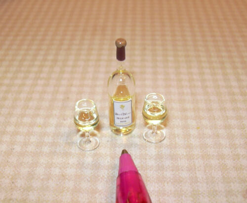 Miniature White Wine Bottle-Real Liquid-Glass Glasses! DOLLHOUSE Miniatures 1/12 in Dolls & Bears, Dollhouse Miniatures, Miniatures | eBay