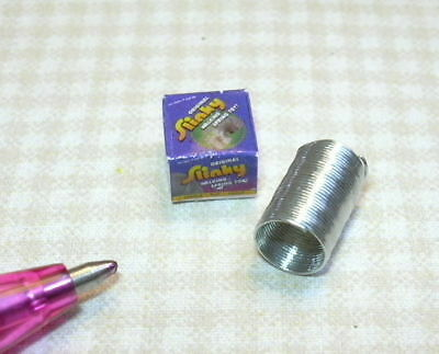 "Miniature Wire ""Slinky"" Toy with Box for DOLLHOUSE 1/12 Scale Miniatures in Dolls & Bears, Dollhouse Miniatures, Miniatures 