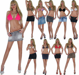 Minirock-Jeansrock-Damenrock-Damenjeansrock-Jeans-Mini-Rock-Skirt-Lederlook-17t