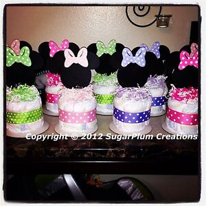 minnie mouse diaper cake minis baby shower birthday centerpieces