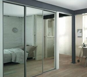 details about mirrored sliding wardrobe doors in white frame