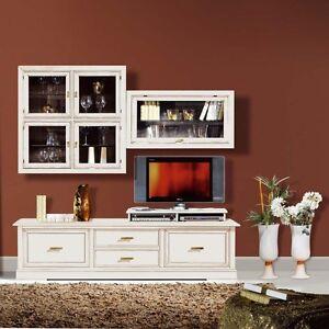 Mobile parete porta tv componibile soggiorno salotto laccata bianca ebay - Mobili salotto ikea ...