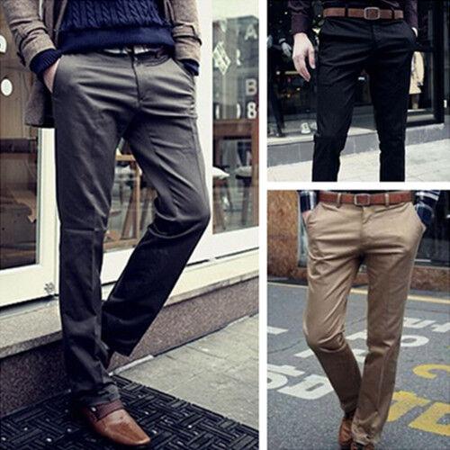 Mode-Herren-Freizeit-Hosen-Schlank-Chinohose-Maenner-Freizeithosen-Business-Hose