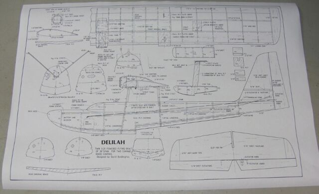 """Model Airplane Plans (RC): DELILAH 38"""" Semi-Scale Flying Boat - Twin ..."""