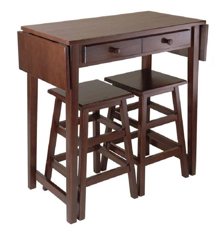 Modern 3 Pieces Drop Leaf Table Stools Set Kitchen Dinette